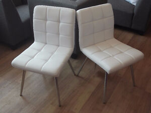 2 NEW MONARCH WHITE LEATHER LOOK/CHROME DINING CHAIRS