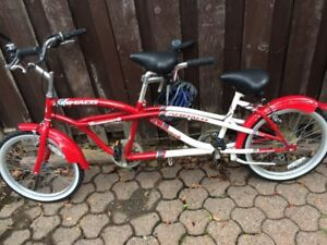Tandem bike built for two. Great for kids