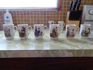 Set of 8 Norman Rockwell Cups - $20 - Can deliver