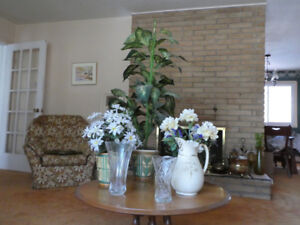 Lead crystal vase/vase/pitcher/silk flowers & plant (Dartmouth)