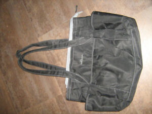 Black diaper bag in good used condition