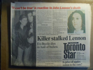JOHN LENNON'S DEATH-Dec 9,1980 NEWSPAPER.