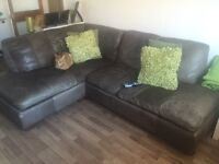 DFS Brown Leather Right Hand Facing Corner Sofa