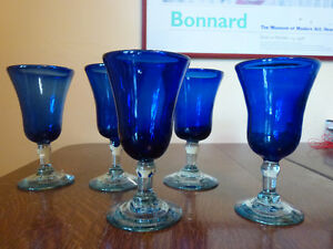 5 deep blue Mexican wine glasses