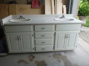 Off White bathroom vanity with two sinks