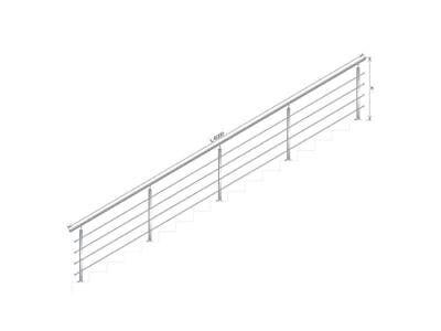 Handlauf Treppengeländer Brüstung Treppe Bausatz Edelstahl Bodenmontage 6m