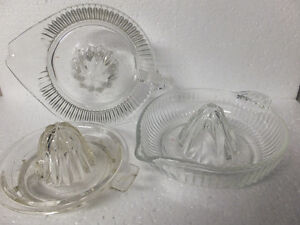 GLASS JUICER  ,ORANGE REAMER  ,LOT OF 3 ,  VINTAGE London Ontario image 1