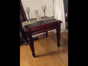Cherry wood and beveled glass coffee table and 2 side tables