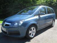 08/57 VAUXHALL ZAFIRA 1.6 LIFE 7 SEAT MPV IN MET BLUE WITH ONLY 49,000 MILES