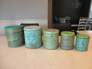 Vintage 1977 5pc Set of Kitchen Tins by Ballonoff, Cleveland OH