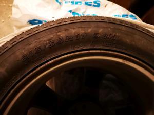 4 winter tires +aluminum mags 215/55 R17