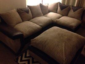 Beige Jumbo Cord Corner sofa and footstool
