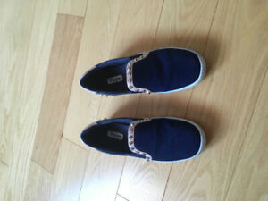 Dune Navy Loafers with Gold Studs Size 6
