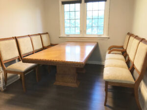 Oak Dining Table + 8 Chairs