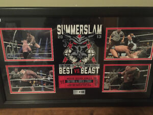 WWE Summerslam 2013 Signed Plaque Signed by CM Punk/Brock Lesnar