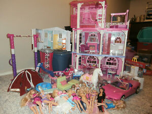 Price lowered Barbie house lot w/accessories + addons