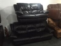 As new black leather 3 and 2 sofa set