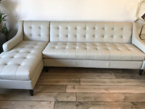 Brand new 100% leather Canadian made sofa w chaise tufted