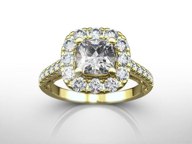 Si1 D Diamond Halo Setting Ring Filigreed 2 Carat 14 Kt Yellow Gold Size 4.5 - 9