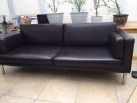 Dark brown Ikea imitation leather sofa