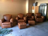 4 Top Grain Leather Arm Chairs and 2 Tufted Ottomans