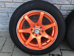 Mags RTX 15po orange avec pneus d'été Dunlop