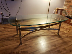 Glass coffee table, free wood table and wood stand