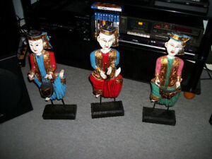 3 Wooden Hand Carved Asian Figures