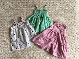 Three pretty girls dresses Age 12-18 months