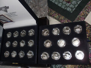Beautifully cased set of 23- 1 oz pure silver(0.999) coins.