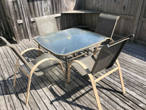 Glass/Metal Patio Table and 4 Chairs