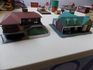 HO scale model train scenery buildings
