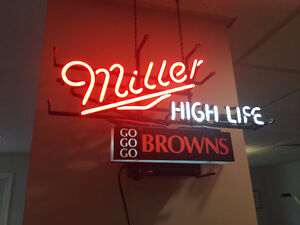 Neon Miller High Life/Go Browns Sign