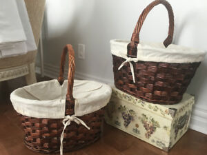 Wicker baskets (2) with cotton liner
