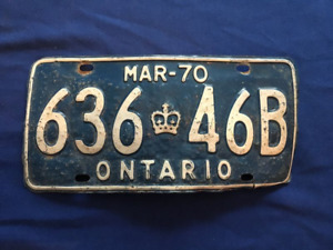 March 1970, Ontario, Single, Truck Plate