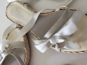 DIOR - LACE UP GLADIATOR GRAY/OFF WHITE WITH RIBBONS - ALM. NEW