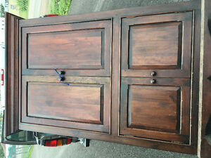 Solid pine Armoire with mahogany stain