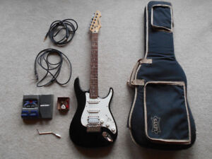 Peavey Predator electric guitar w/ effects pedal, cables, etc.