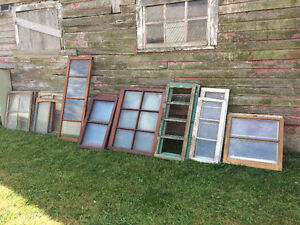 ANTIQUE STAIN GLASS, LEADED, BEVELED, WOOD FRAME WINDOWS