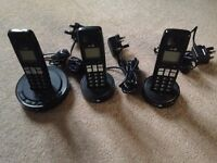 BT cordless phones trio. Built-in answer machine