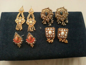 INDIAN  PLATED  GOLD  EARRINGS   ...  5 PAIRS