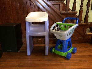 Play high chair and grocery cart