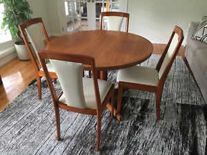 Vintage Danish Solid Teak Dining Room Table & Four Chairs