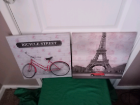 Two French Canvas Pictures