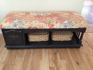 Solid Maple Entry Bench  Upholstered cushion