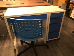 IKEA MICKE desk and drawer unit with IKEA SKÅLBERG chair.