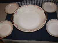 Vintage Nippon Hand Painted Serving Bowl & 4 Berry Bowls