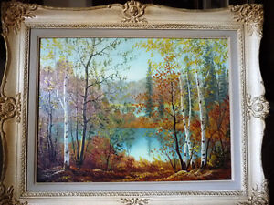 "Muskoka Oil Painting by Erkki Jalava ""Tranquil Fall Study"" 1950"