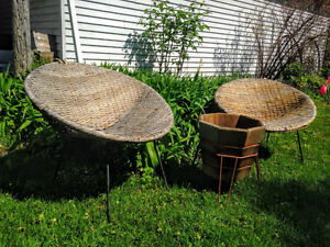 1950s Woven Wicker and Iron Bucket Chairs West Island Greater Montréal image 2