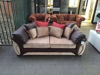 ***NEW DFS 3 seater mink/red/chocolate fabric sofa for SALE***